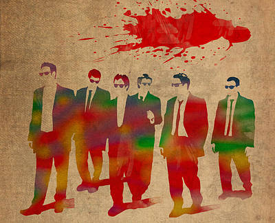 Hollywood Mixed Media - Reservoir Dogs Movie Minimal Silhouette Watercolor Painting by Design Turnpike