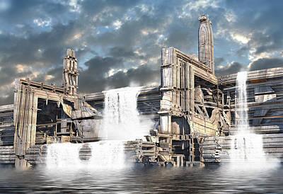 Digital Art - Reservoir Overflow by Hal Tenny