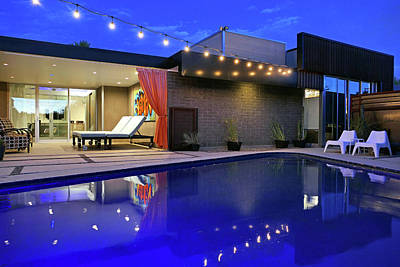 Photograph - Residence 1 Pool At Night by Jeff Brunton