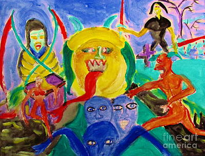 Painting - Resident Demons Or Demonic Residents by Stanley Morganstein