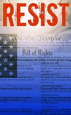 Bill Of Rights Mixed Media - Resist 2 by Candee Lucas
