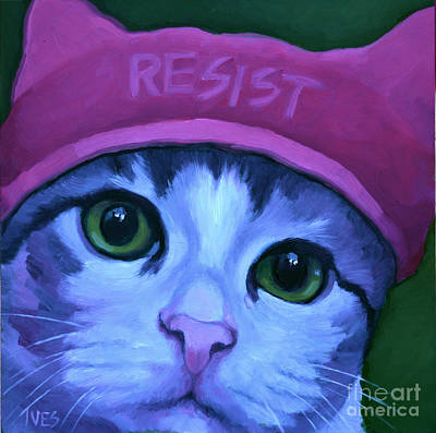 Painting - Resist Tabby by Rebecca Ives