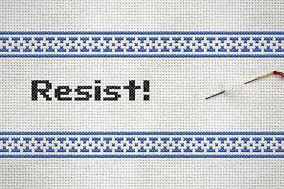 Tapestry - Textile - Resistance Cross Stitch by Susan Maxwell Schmidt