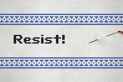 Resistance Cross Stitch Art Print by Susan Maxwell Schmidt