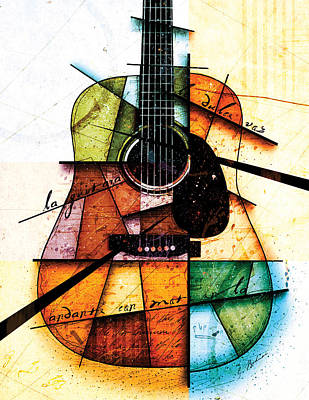 Guitar Digital Art - Resonancia En Colores by Gary Bodnar