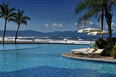 Nuevo Vallarta Photograph - Resort Pool In Nuevo Vallarta At Beach With Waves And Sierra Mad by Reimar Gaertner