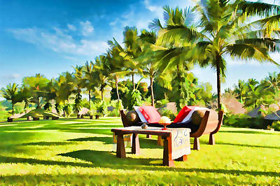 Chaise Longue Painting - Resorts Garden by Lanjee Chee