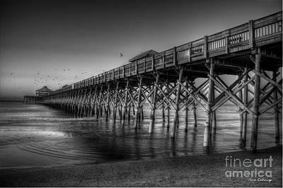Photograph - Resplendent Glow B W Folly Beach Pier Charleston South Carolina Art by Reid Callaway