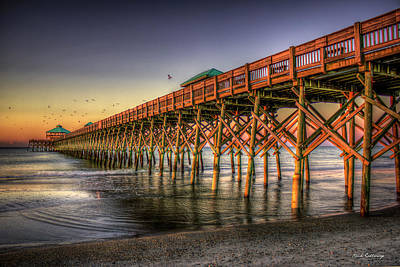 Photograph - Resplendent Glow Folly Beach Pier South Carolina Beach Art by Reid Callaway