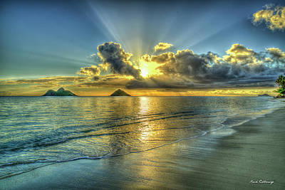 Sean - Oahu HI Mokulua Islands Resplendent Light Lanikai Beach Sunrise Hawaii Seascape Art by Reid Callaway