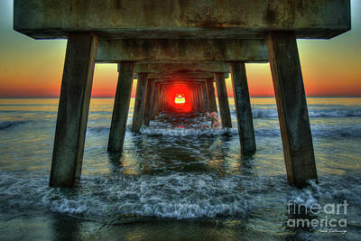Photograph - Resplendent Red Dot Tybee Island Pier Sunrise Seascape Art by Reid Callaway