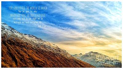 Photograph - Rest And Be Thankful Mountain Peaks With Scripture by Joan-Violet Stretch