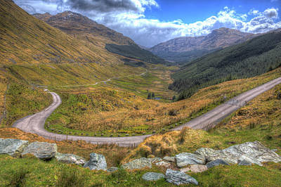 Sottish Photograph - Rest And Be Thankful View Scotland Uk The Highest Point On The A83 Divides Glen Kinglas by Michael Charles