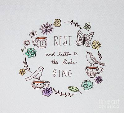 Painting - Rest And Listen To The Birds Sing by Elizabeth Robinette Tyndall