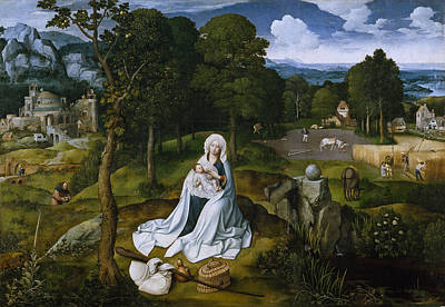 Painting - Rest During The Flight To Egypt by Joachim Patinir