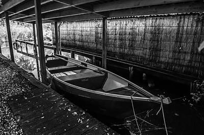 Photograph - Rest In Boathouse. Black And White. Giethoorn by Jenny Rainbow