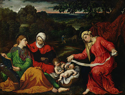 St Elizabeth Painting - Rest On The Flight Into Egypt by Paris Bordone