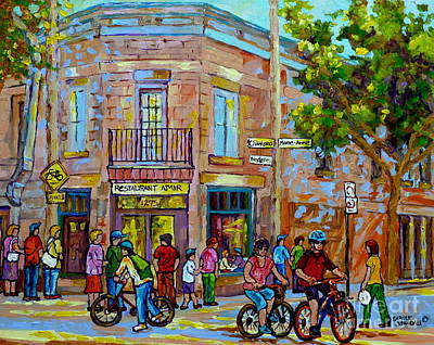 Painting - Restaurant Amir Montreal Street Summer City Scene Cycling A Bicycle Path Canadian Art Carole Spandau by Carole Spandau