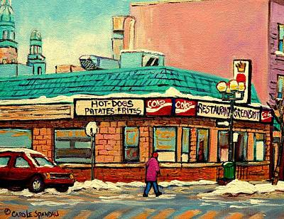Montreal Buildings Painting - Restaurant Greenspot Deli Hotdogs by Carole Spandau