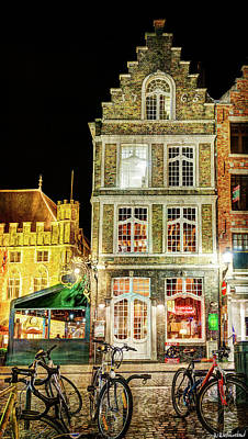 Photograph - Restaurant In Bruges Night - Vintage Version by Weston Westmoreland