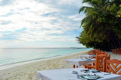 Photograph - Restaurant In Maldives On The Beach by Oana Unciuleanu
