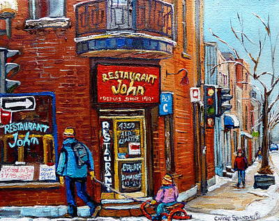 Winter Landscapes Painting - Restaurant John Montreal by Carole Spandau