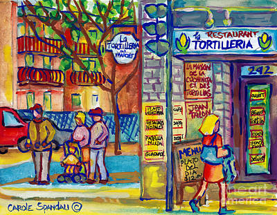 Painting - Restaurant La Tortilleria Du Marche Montreal Watercolor Streetscenes Little Italy Paintings Cspandau by Carole Spandau