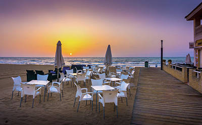 Photograph - Restaurant Sunrise, Spain. by Gary Gillette
