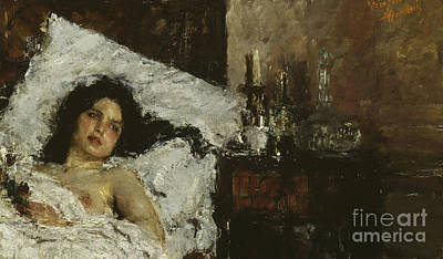 Topless Painting - Resting by Antonio Mancini