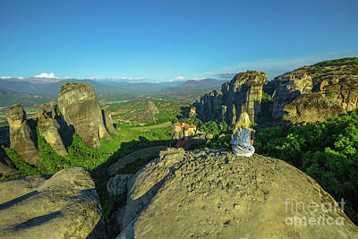 Photograph - Resting At Meteora Overlook by Benny Marty