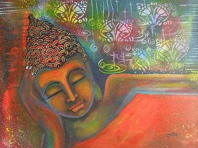 Buddha Resting Against A Colorful Backdrop Art Print