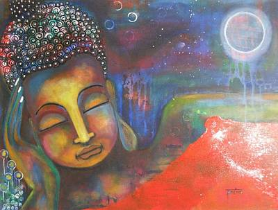 Buddha Resting Under The Full Moon  Art Print