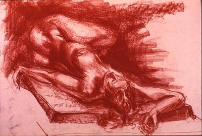 Male Nude Drawing Drawing - Resting by Chris  Riley