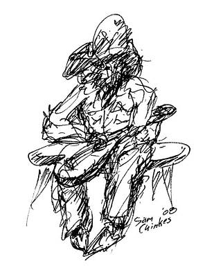 Resting Guitarist Art Print by Sam Chinkes