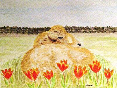 Resting In The Tulips Art Print by Angela Davies
