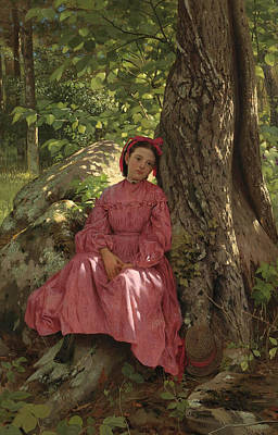 A Girl In A Wood Painting - Resting In The Woods. Girl Under A Tree by John George Brown