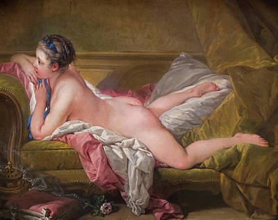 Unclothed Painting - Resting Maiden by Francois Boucher
