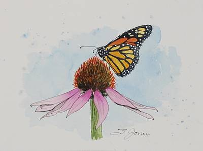 Mixed Media - Resting Monarch by Sonja Jones