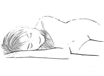Daydreams Art Drawing - Resting Nude by Louis Art
