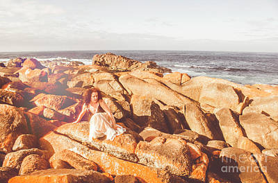 Feminine Photograph - Resting On A Cliff Near The Ocean by Jorgo Photography - Wall Art Gallery