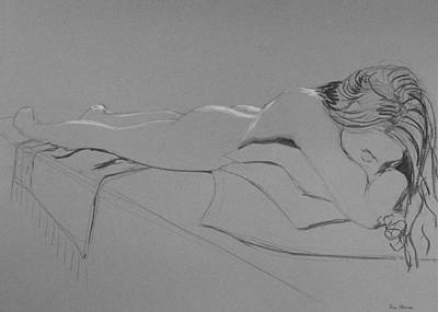 Drawing - Resting On Pillows by Don Perino