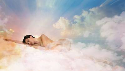 Nude Girl Digital Art - Resting On The Cloud by Lilia D