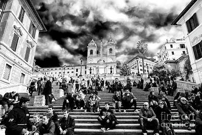 Resting On The Spanish Steps Art Print by John Rizzuto