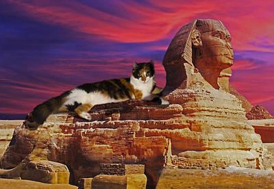 Sphinx Mixed Media - Resting On The Sphynx by Edelberto Cabrera