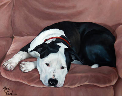 Staffie Painting - Resting Pit by Alexandra Cech