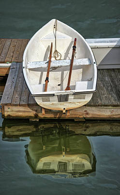 Photograph - Resting Rowboat And Reflections by Gary Slawsky