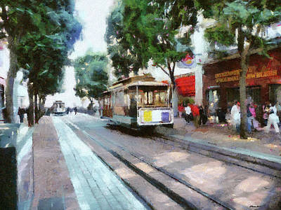 Bay Area Mixed Media - Resting Streetcar by Reese Lewis