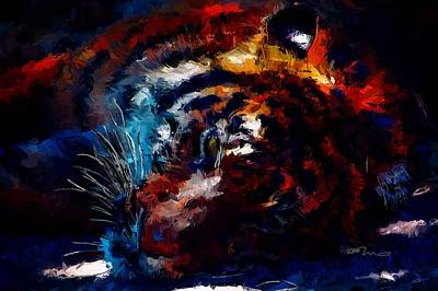 Tigris Digital Art - Resting Tiger by Mark Taylor
