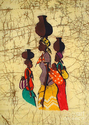 African Village Scene Painting - Resting Water On Mothers Head by Mussa Chiwaula