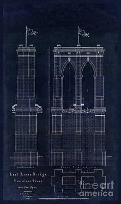 Restored Drawing - Restored Antique Blueprint Of The Brooklyn Bridge, East River Bridge by Tina Lavoie